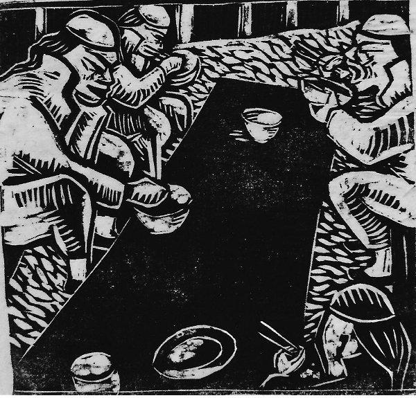'Essende Chinesen', Holzschnitt 'Blatt 20', erster (bisher unbekannter) Zustand von drei, Druckstock 15,6 x 16 cm, 1923, signiert 'Esser', Arch.Nr. 2230.
