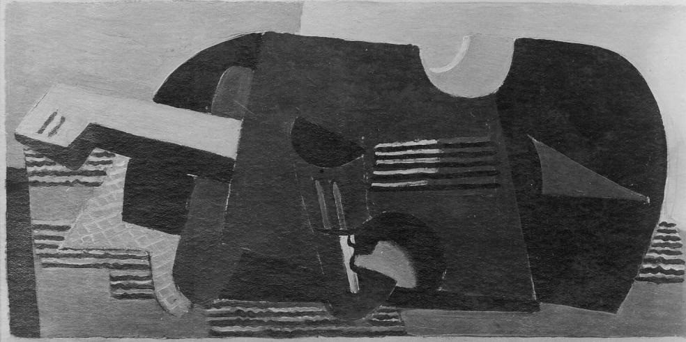 Die Geige (Musikstilleben) bzw. Stillleben mit Gitarre, Öl über Bleistift auf Zeichenpapier(?), um 1930/31; 1937 als 'entartete Kunst' konfisziert und vernichtet, Harry-Fischer-Liste EK 14897