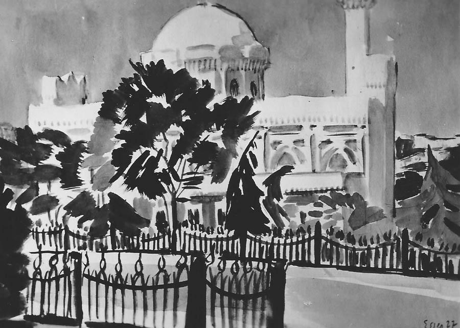 'Jildiszmoschee', Aquarell, 1927, signiert 'Esser 27', ehemals Besitz Gen.-Dir. Leberecht.