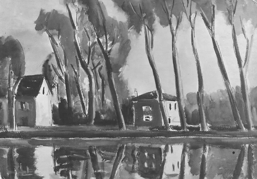 'Seineufer 27', Aquarell, 1928, signiert 'Esser Paris 28', ehemals Sammlung Dr. Husten, Köln.