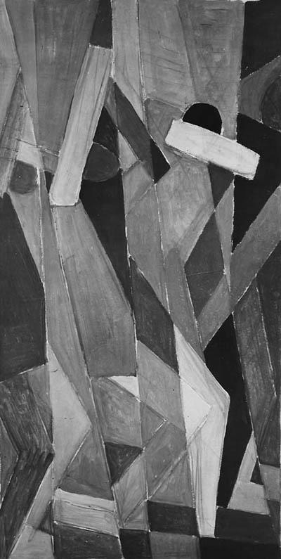 'Bewegte Figuren', Öl über Bleistift auf Karton(?), um 1932, unsigniert.