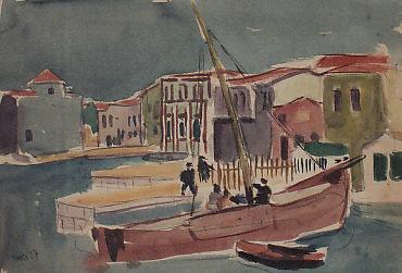Hafen auf Prinkipo/Prinzeninseln, Aquarell über Bleistift auf Zeichenkarton, 24,5 x 35 cm, 1927, sign. 'Esser 27'