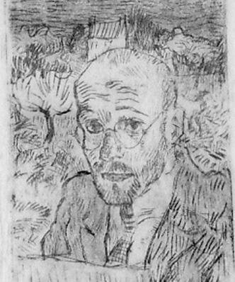 self portrait as artist, etching, 10.8 x 8.7 cm, plate 8.0 x 5.7 cm, ca. 1922