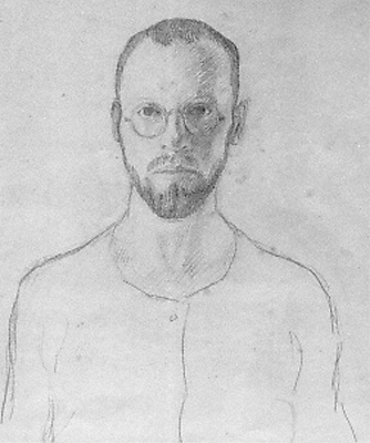 Franz Esser, self portrait 'Sand' as soldier at the East front, pencil on cardboard, 35.8 x 27 cm, 03.07.1915, signed 'Frz. Jos. Esser'