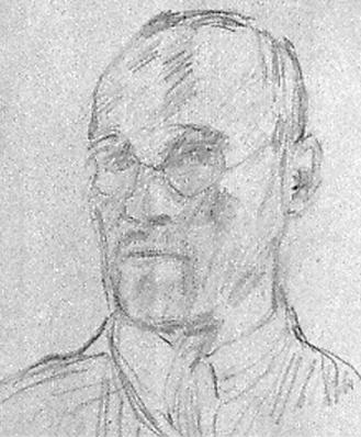Franz Esser, Selbstportrait, Bleistift auf grauem Zeichenpapier, 37,5 x 28,5 cm, ca. 1926-30.