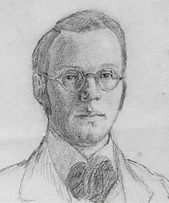 Franz Esser, Selbstportrait als Student -meiner herzlieben Marie- (für Maria Attenkofer), Bleistift auf Zeichenkarton, 19 x 13 cm, 05.09.1913, monogrammiert 'F.E.'