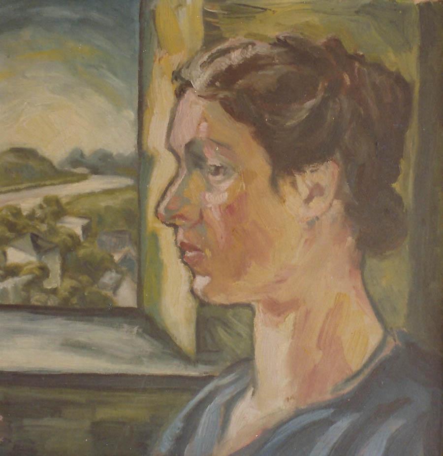 """Bildnis Christine Esser, Öl auf Karton mit Stempel """"Dresdner Akademie-Studien-Carton, 1917, Monogrammiert 'E.'"""