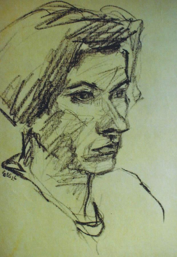 Bildnis Hetty Schuler, Bleistift auf gelbem Zeichenpapier, 1926, Signiert unt. li. 'Ess 26'