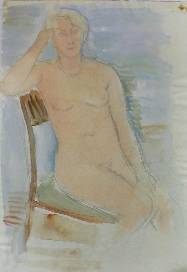 Auf Stuhl sitzender weiblicher Akt, Aquarell, Bleistift, Deckweiß auf Bütten; rückseitig Aktzeichnung Arch.Nr. 771.