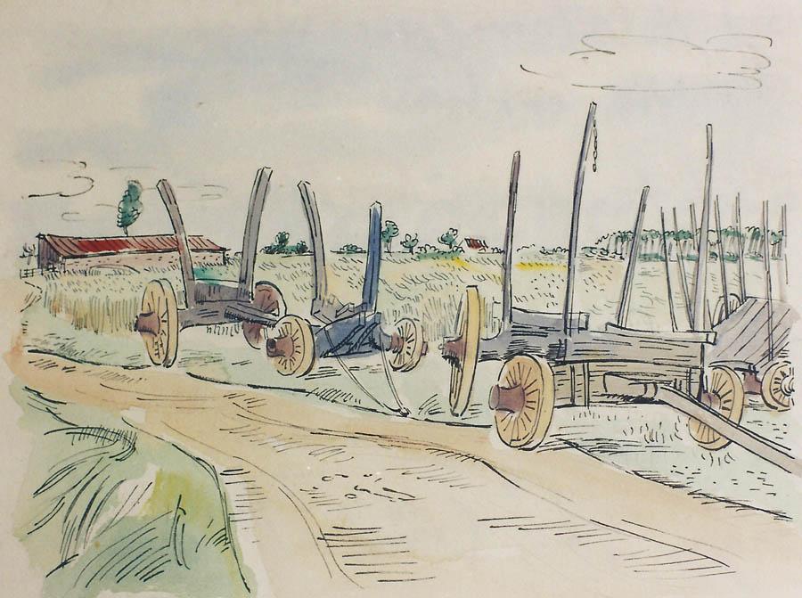Holztransportwagen, am Niederrhein?, Tuschfeder über Bleistift, Aquarell auf Zeichenkarton.