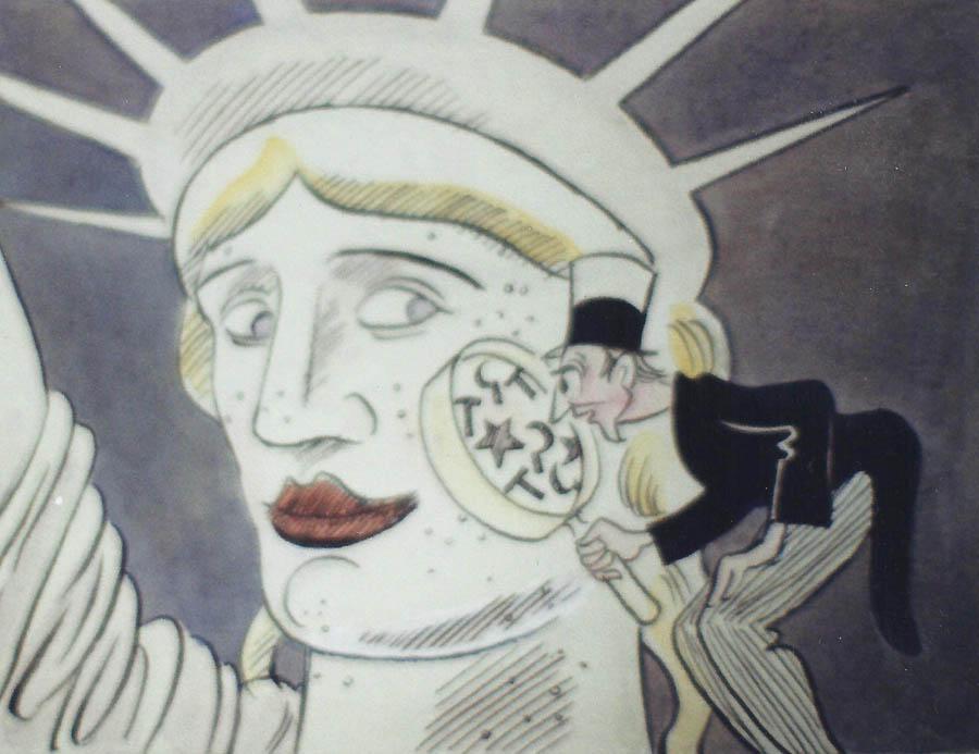 'Schönheitspflege in U.S.A.', Tusche über Bleistift, Aquarell, Deckweiß auf Zeichenkarton.