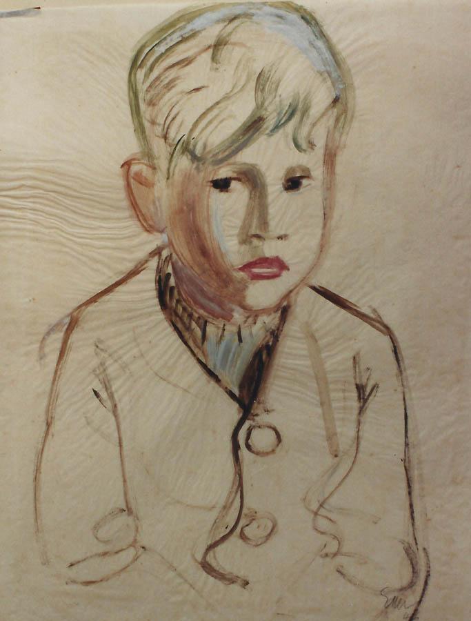 Portrait von Sohn Franz M., Aquarell, Deckweiß auf Transparentpapier; montiert in Passepartout.