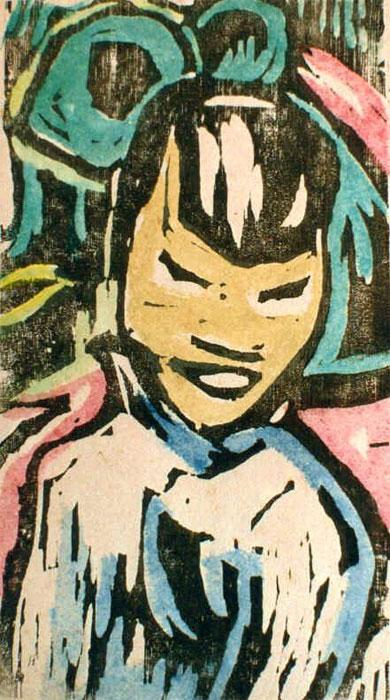 Chinesisches Mädchen; Holzschnitt, aquarelliert auf Zeichenpapier, 43 x 27,5 cm, ca. 1924/25