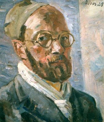 """Selbstportrait Öl auf Leinwand, 56,5 x 42 cm (Ausschnitt), 1929, signiert """"Esser 29″"""