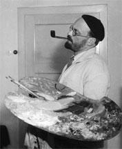 Hannes M. Flach: Franz Esser als Maler in Köln-Bickendorf, 1932.