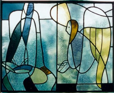 Annunciation, glass window, executed in the Franz Mayer'sche Hofkunstanstalt Munich, 56 x 74 cm, ca. 1945-50