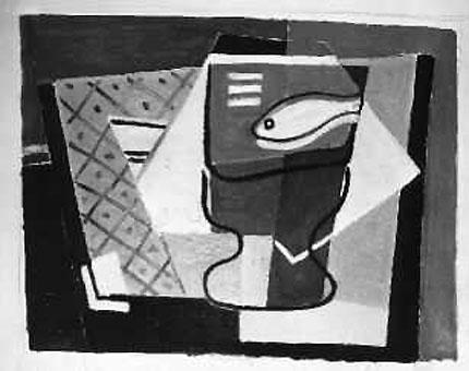 Fisch im Glas, Öl auf Karton (?), ca. 1930, unsigniert.