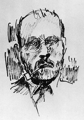 Franz Esser, Selbstportrait, Tuschzeichnung auf Papier, 41 x 25 cm, ca. 1929.