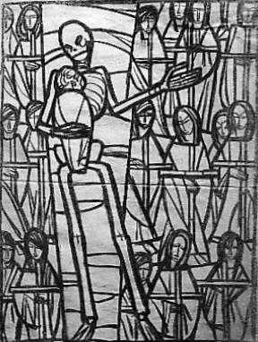 'Aus einem Totentanz: die gefallenen Kinder', Glasfensterentwurf, Kohle auf Pergamentpapier, 99 x 65 cm, 1947, signiert 'Franz Esser'.