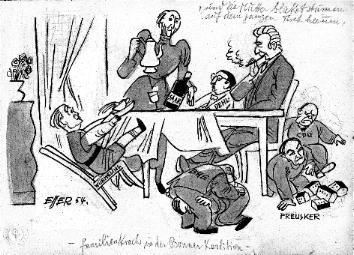 'Und die Mutter blicket stumm auf dem ganzen Tisch herum - Familienkrach in der Bonner Koalition -', Karikatur auf Zeichenkarton für die 'Nürnberger Nachrichten', 18,2 x 25,4 cm, 1954, sign. 'Esser 54'